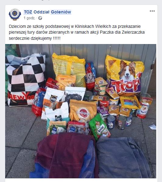 Zebrane dary w ramach akcji Paczka dla Zwierzaczka