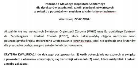 Informacja Głównego Inspektora Sanitarnego dot. koronawirusa