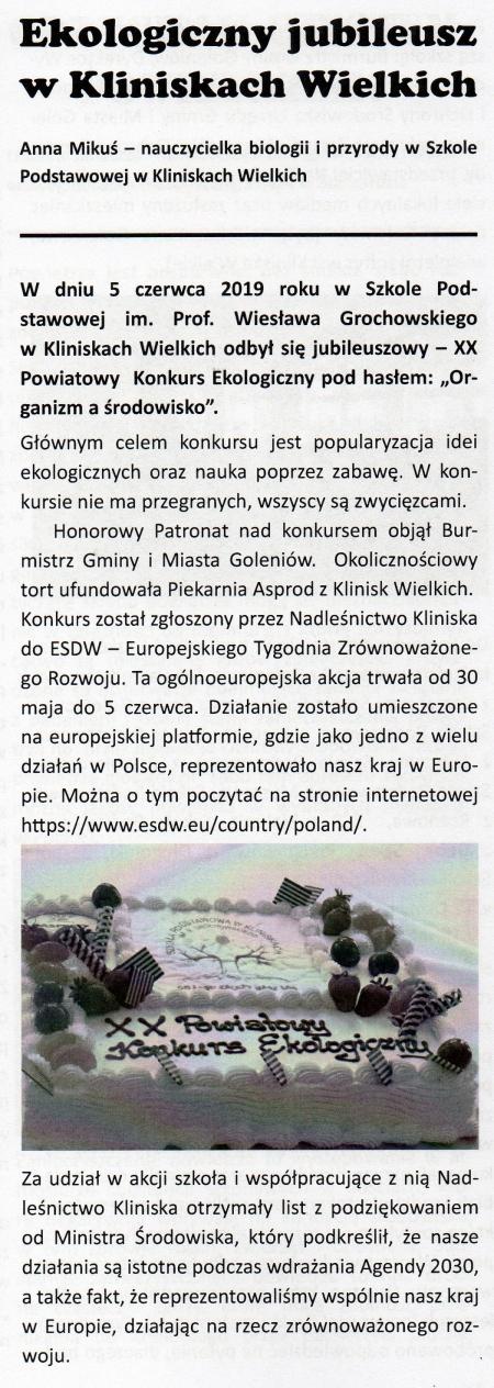 """Powiatowy Konkurs Ekologiczny pod hasłem """"Organizm a środowisko"""" – wspom"""