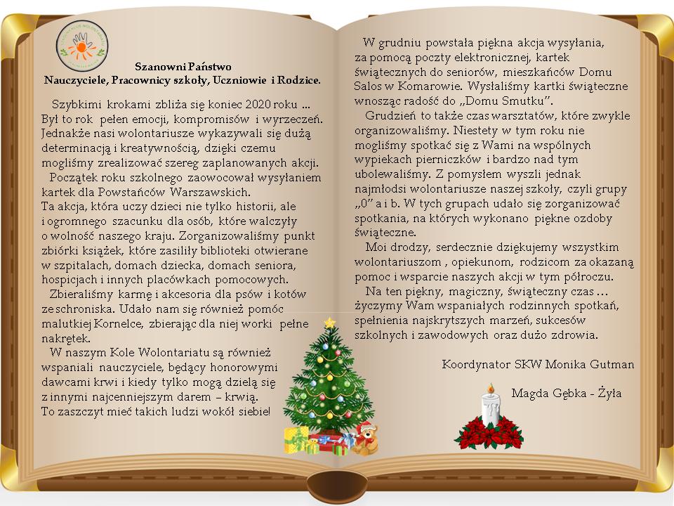 Życzenia świąteczne Wolontariatu