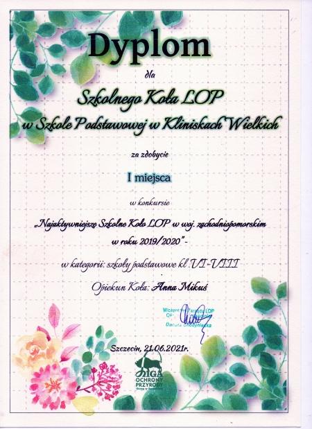 Nagroda dla Szkolnego Koła LOP
